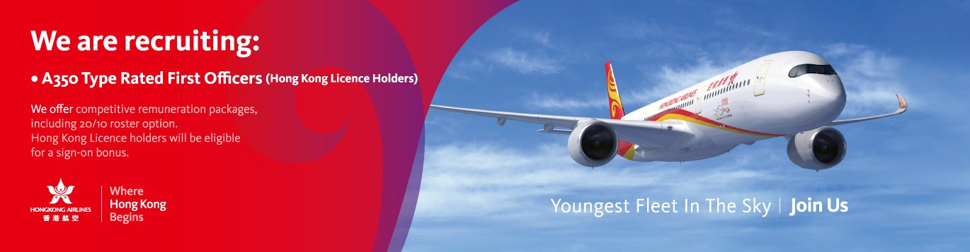 A350 typed rated First Officers (Hong kong Licence Holders) We offer competitive remuneration packages, including 20/10 roster option. Hong Kong Licence holders will be eligible for a sign-on bonus.